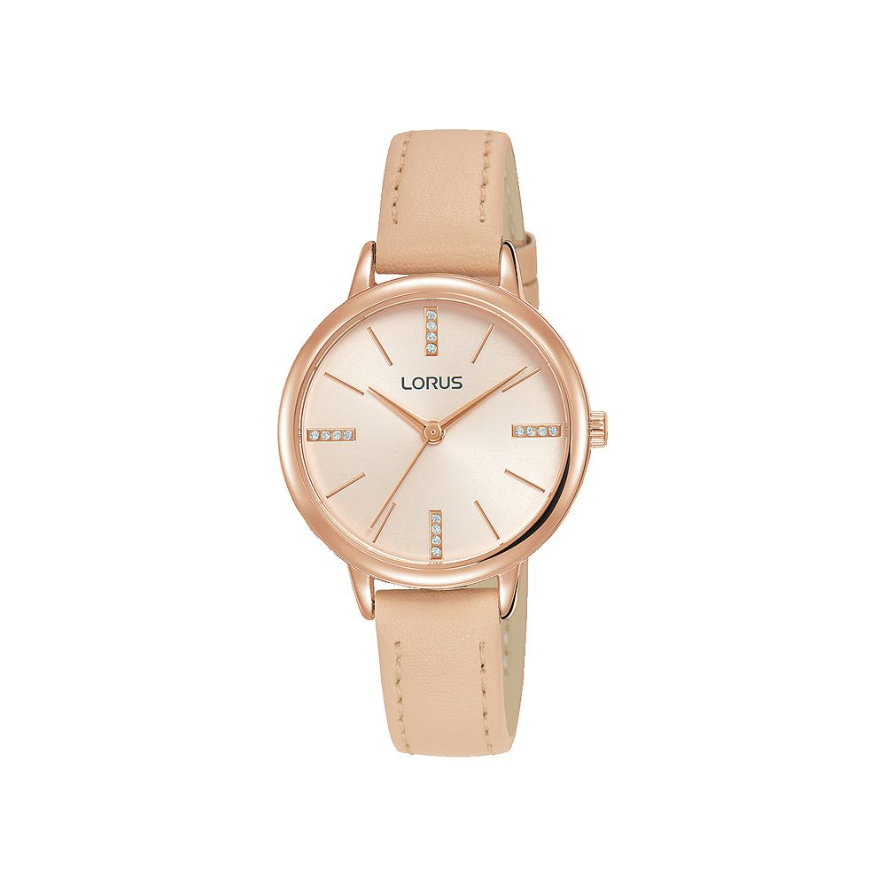 Lorus Ladies' Crystal Dial Beige Leather Strap Watch - Product number 3432386