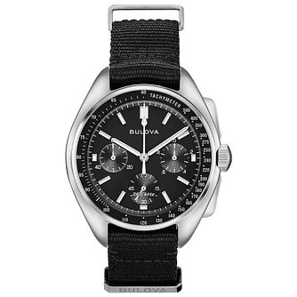Bulova Lunar Pilot Men's Black Fabric Strap Watch - Product number 3432556