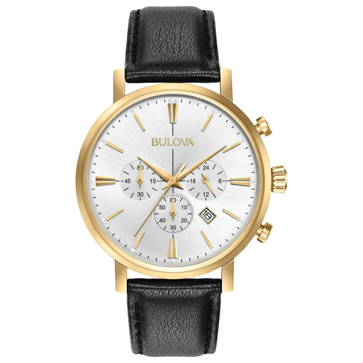 Bulova Classic Men's Black Leather Strap Watch - Product number 3432580