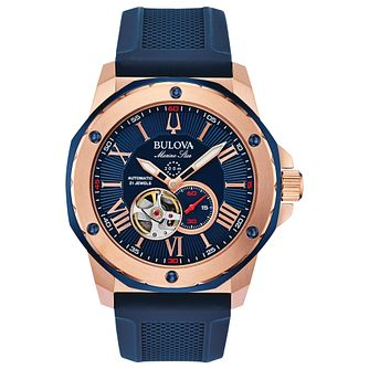 Bulova Marine Star Men's Blue Silicone Strap Watch - Product number 3432602