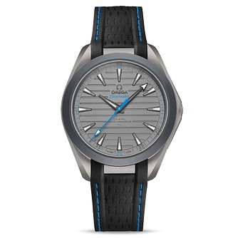 Omega Aqua Terra Titanium Black Blue Rubber Strap Watch - Product number 3434575