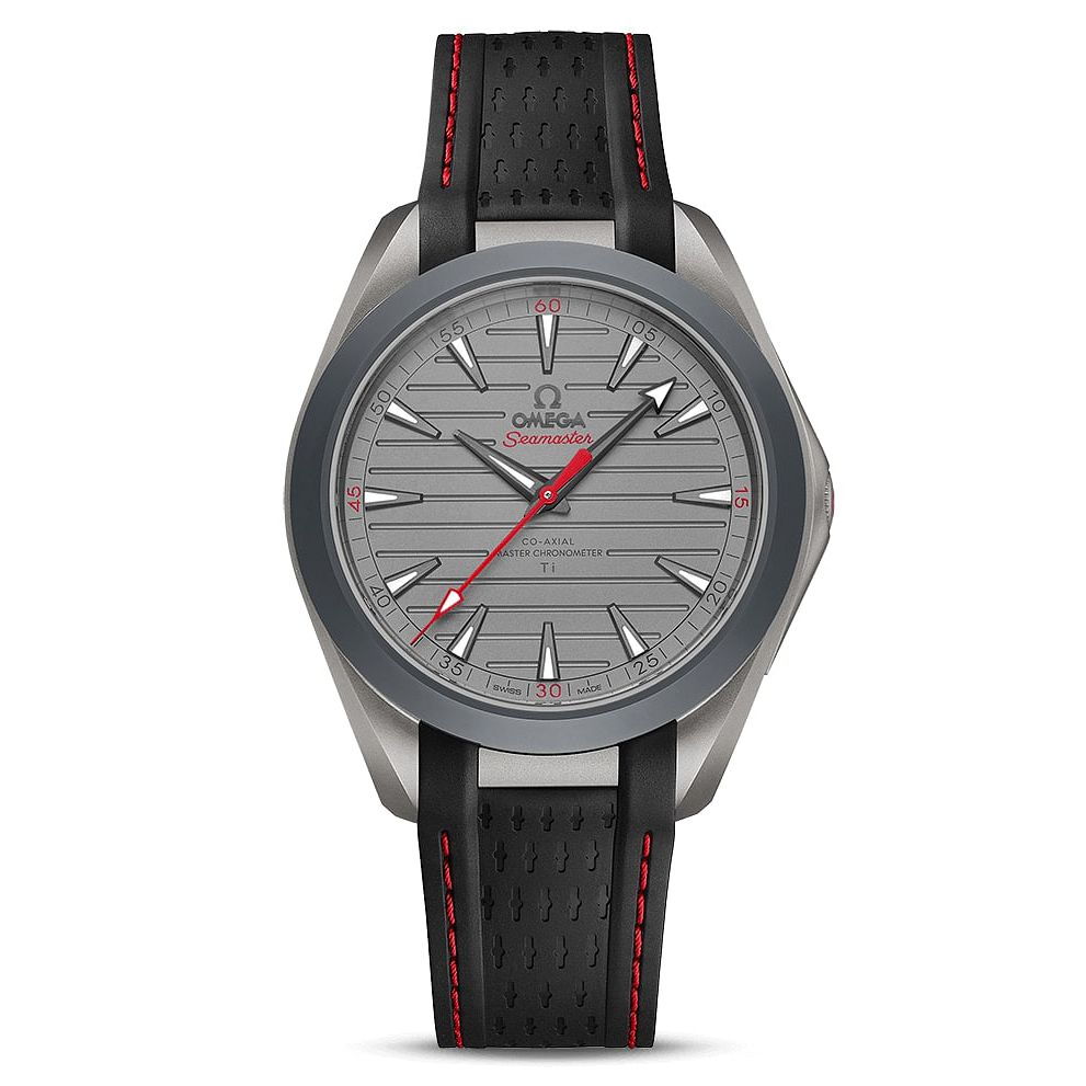 Omega Aqua Terra Titanium Black Red Rubber Strap Watch - Product number 3434656