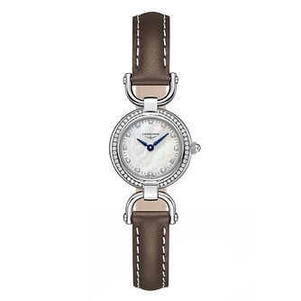 Longines Equestrian Ladies Diamond Brown Leather Strap Watch - Product number 3448541