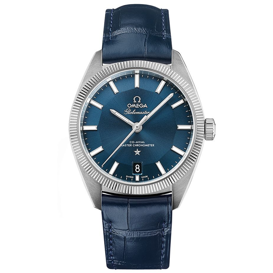 Omega Globemaster Men's Blue Leather Strap Watch - Product number 3450406