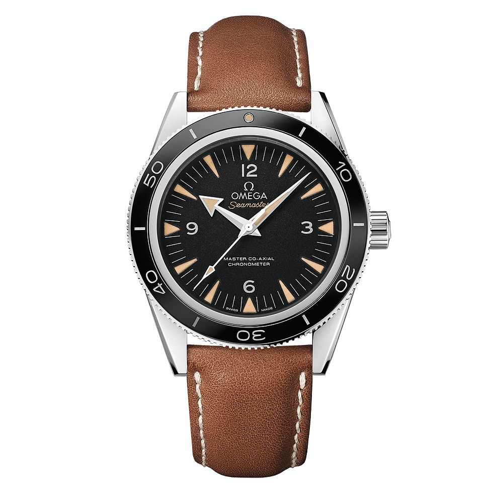 Omega Seamaster 300 Men's Brown Leather Strap Watch - Product number 3450694