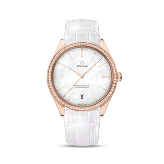 Omega De Ville Tresor Rose Gold Round White Strap Watch - Product number 3451097