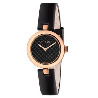 Gucci Diamantissima Black Leather Strap Watch - Product number 3460886