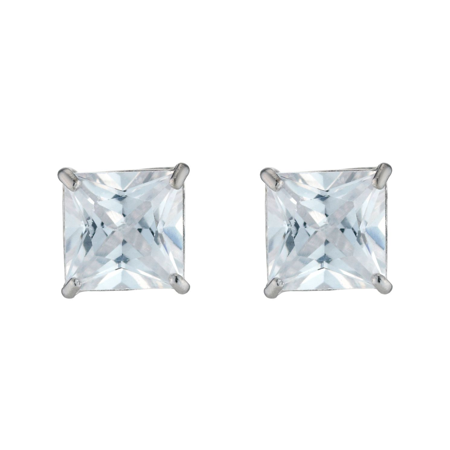 9ct White Gold Cubic Zirconia 5mm Square Stud Earrings - Product number 3468461