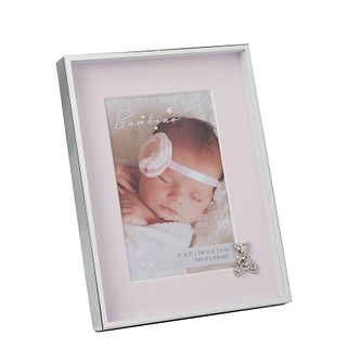 "Bambino By Juliana Silver Tone 4""x6"" Pink Teddy Photo Frame - Product number 3472884"