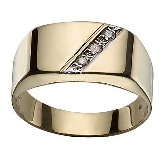 9ct Gold Diamond-set Signet Ring - Product number 3474143