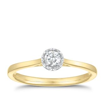 9ct Yellow Gold 1/5ct Diamond Solitaire Ring - Product number 3478084
