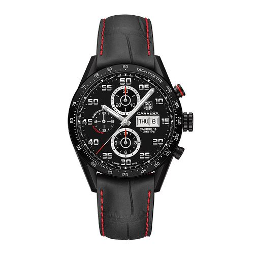 TAG Heuer Carrera Men's Black Leather Strap Watch - Product number 3478971