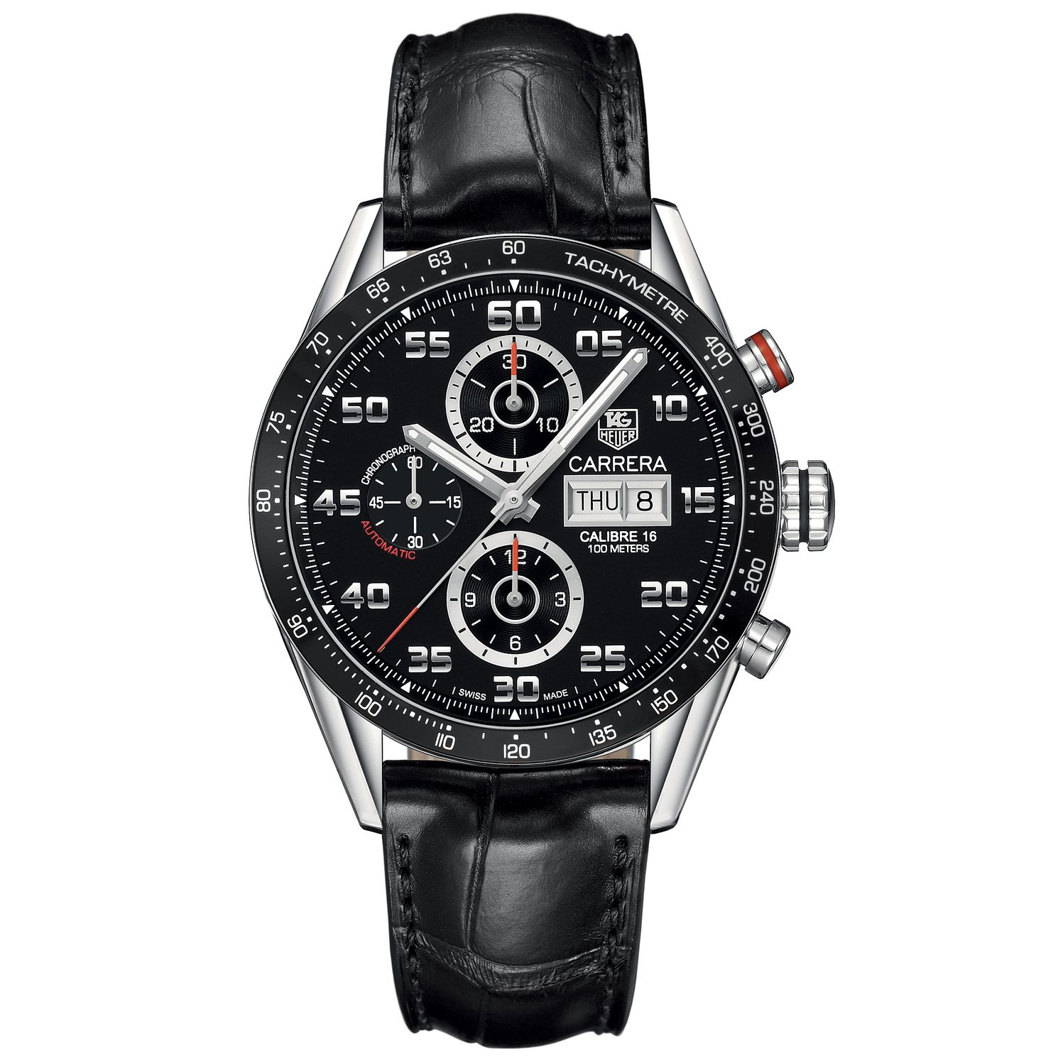 TAG Heuer Carrera Men's Black Leather Bracelet Watch - Product number 3479307