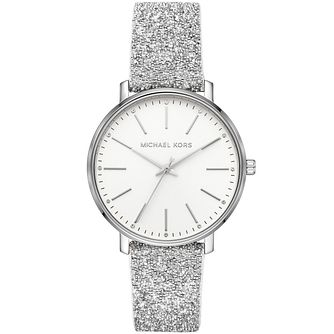 Michael Kors Pyper Ladies' Silver Glitter Strap Watch - Product number 3479501