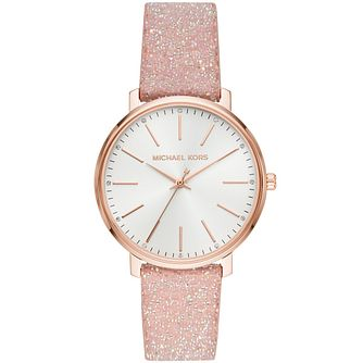 Michael Kors Pyper Ladies' Pink Glitter Strap Watch - Product number 3479536