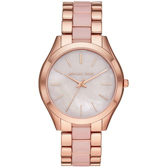 Michael Kors Slim Runway Rose Gold Plated Bracelet Watch - Product number 3480879