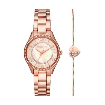 Michael Kors Lauryn Rose Gold Plated Watch & Bracelet Set - Product number 3480909