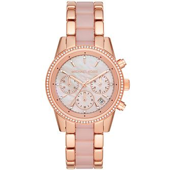 Michael Kors Ritz Crystal Rose Gold Plated Bracelet Watch - Product number 3481085