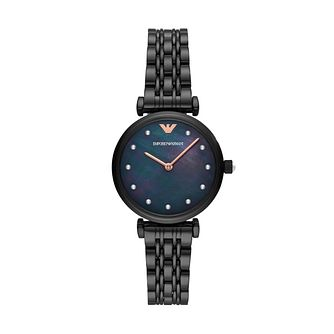 Emporio Armani Ladies Crystal Set Black IP Bracelet Watch - Product number 3482189