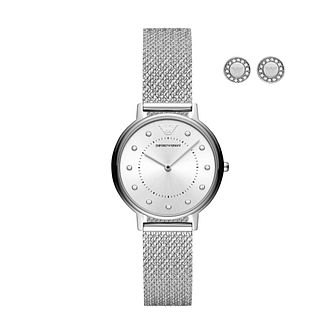 Emporio Armani Ladies' Bracelet Watch & Stud Earrings Set - Product number 3482197