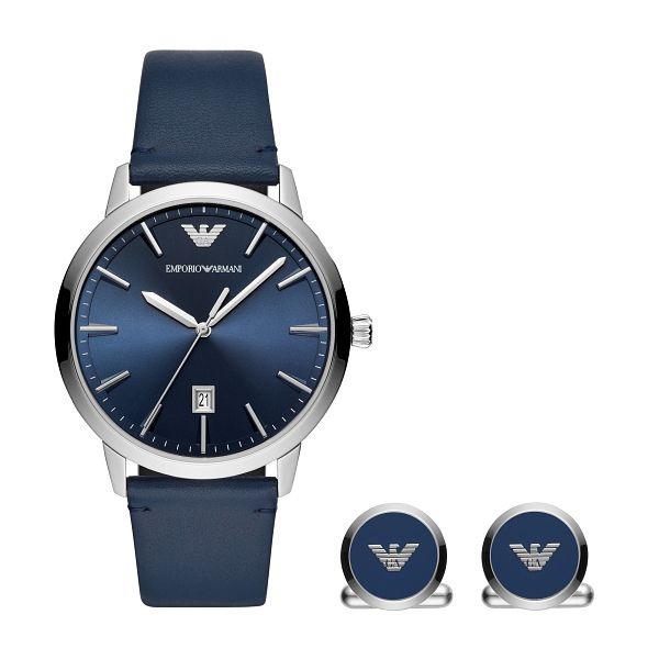 Emporio Armani Men's Blue Leather Strap Watch & Cufflinks - Product number 3482235