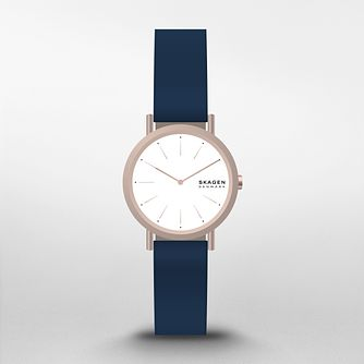 Skagen Signatur Ladies' Blue Leather Strap Watch - Product number 3482308