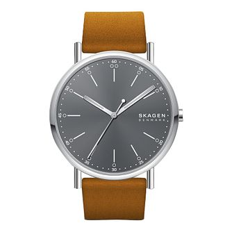 Skagen Men's Grey Dial Brown Leather Strap Watch - Product number 3482421