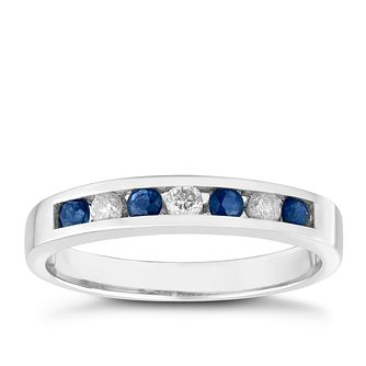 9ct White Gold Sapphire & Diamond Ring - Product number 3482650