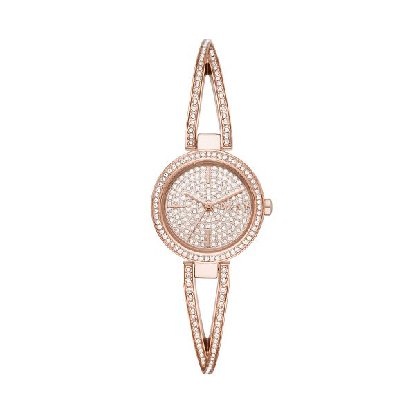 DKNY Ladies' Rose Gold Tone Crystal Set Bangle Watch - Product number 3482901