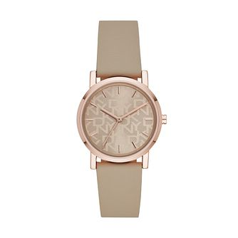 DKNY Soho Ladies' Grey Faux Leather Strap Watch - Product number 3483010