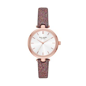Kate Spade Holland Ladies' Pink Glitter Strap Watch - Product number 3483770