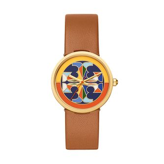 Tory Burch Reva Ladies' Brown Leather Strap Watch - Product number 3483916