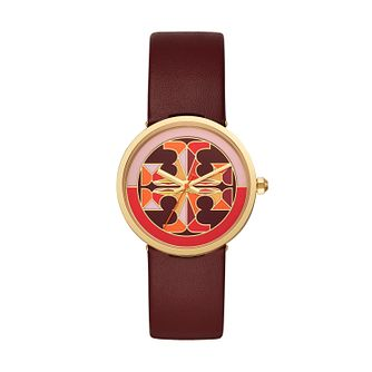 Tory Burch Reva Ladies' Burgundy Leather Strap Watch - Product number 3484068