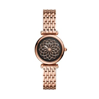 Fossil Ladies' Flower Dial Rose Gold Tone Bracelet Watch - Product number 3484505
