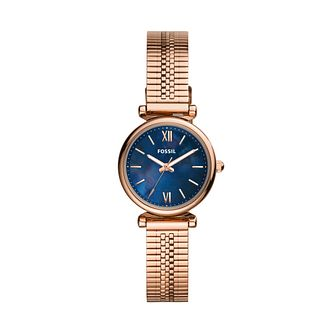 Fossil Ladies' Blue Dial Rose Gold Tone Bracelet Watch - Product number 3484521