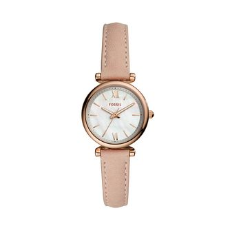 Fossil Carlie Mini Ladies' Pink Leather Strap Watch - Product number 3484580