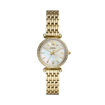 Fossil Carlie Mini Crystal Ladies Gold Tone Bracelet Watch - Product number 3484777