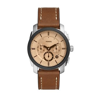 Fossil Machine Chronograph Men's Brown Leather Strap Watch - Product number 3484831