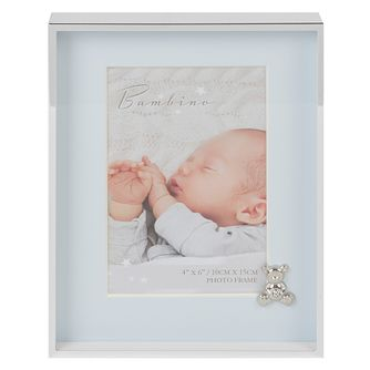 "Bambino By Juliana Silver Tone 4""x6"" Blue Teddy Photo Frame - Product number 3484904"