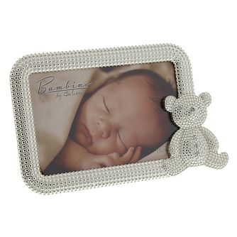 "Bambino By Juliana Silver Tone 4""x6"" Teddy Photo Frame - Product number 3485161"
