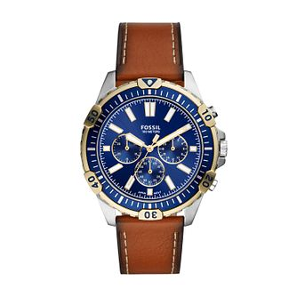 Fossil Chronograph Men's Brown Leather Strap Watch - Product number 3485188