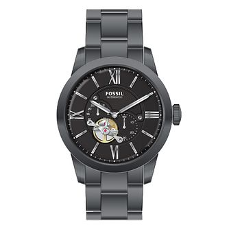 Fossil Men's Black Dial Grey IP Bracelet Watch - Product number 3485498