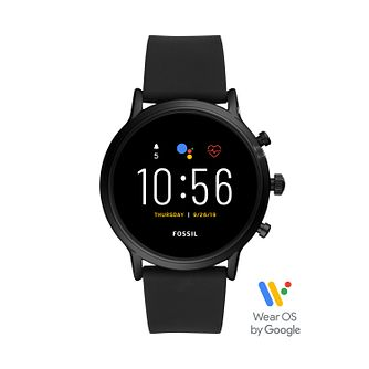 Fossil Smartwatches The Carlyle Gen 5 Black Silicone Watch - Product number 3485560