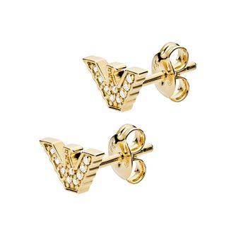 Emporio Armani Yellow Gold Tone Crystal Stud Earrings - Product number 3485633