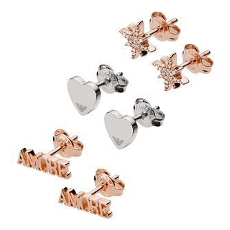 Emporio Armani Swarovski Crystal Three Stud Earrings Set - Product number 3485730