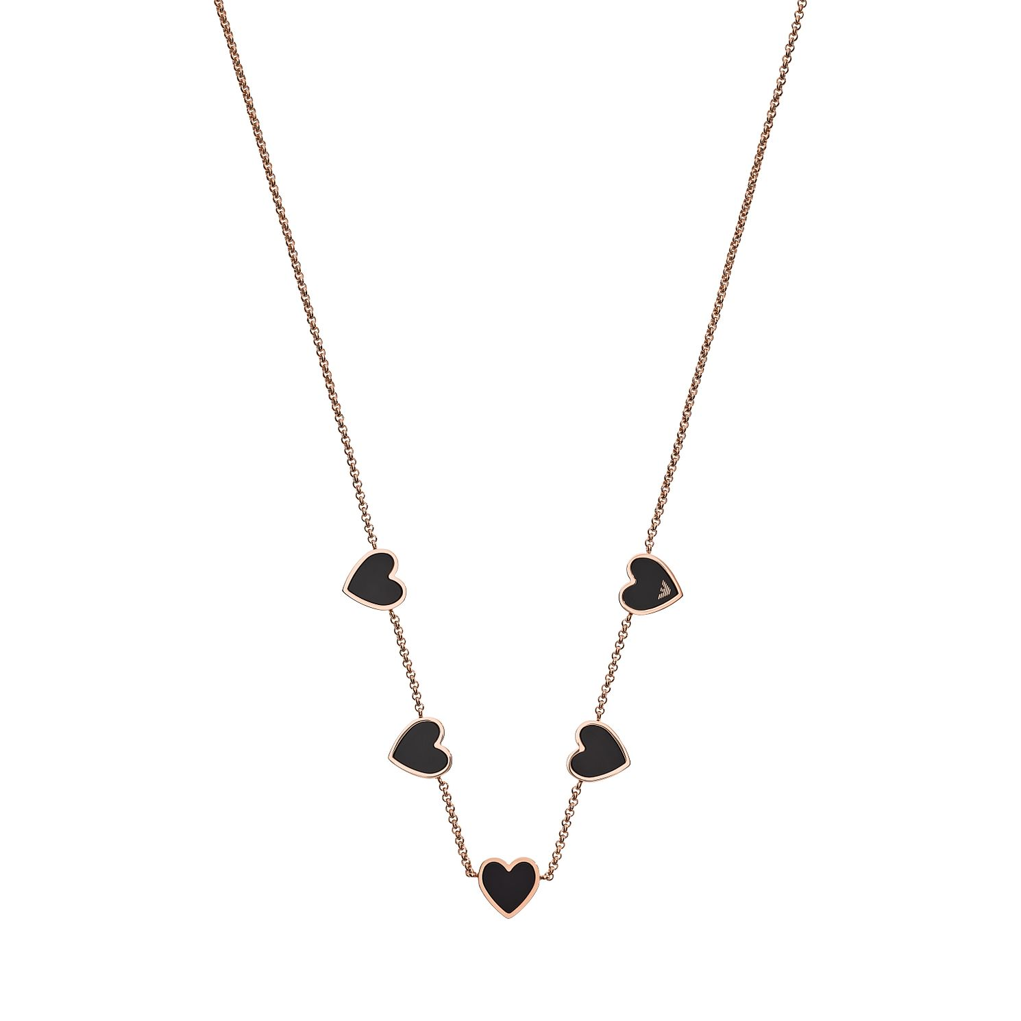 Emporio Armani Rose Gold Tone & Black Enamel Necklace - Product number 3486036