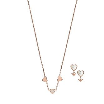 Emporio Armani Rose Gold Tone Mother-of-Pearl Gift Set - Product number 3486095