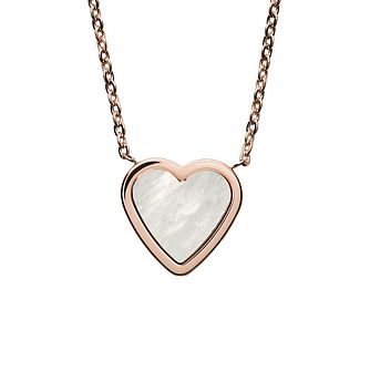 Skagen Katrine Rose Gold Tone Mother-Of-Pearl Heart Pendant - Product number 3488578