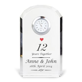 Engraved Heart Motif Crystal Clock - Product number 3498360