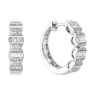 9ct White Gold 1/3ct Diamond Round & Baguette Hoop Earrings - Product number 3499030